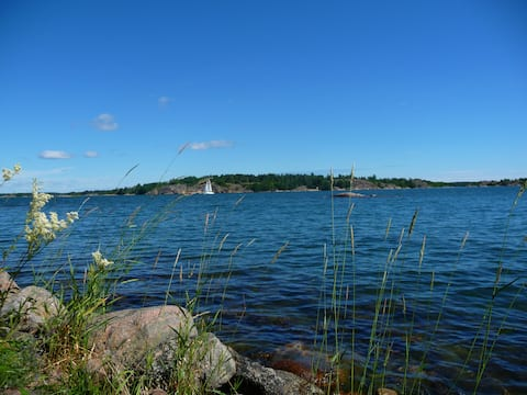 Cabin on the shore on small island in archipelago