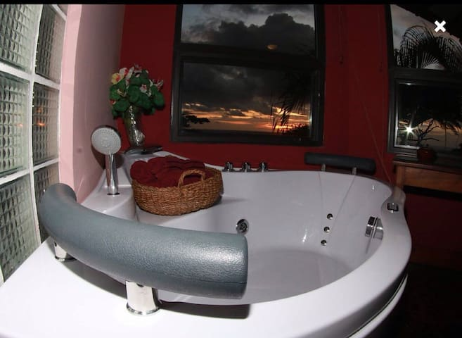 Jetted tub with ocean view in master bedroom