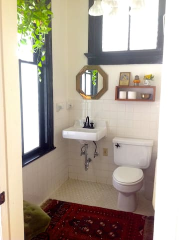 Downstairs extra bathroom with claw foot tub.