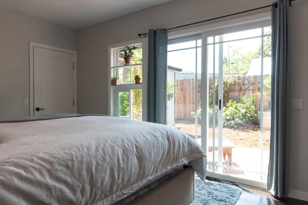 Access to back patio from your suite with King Bed
