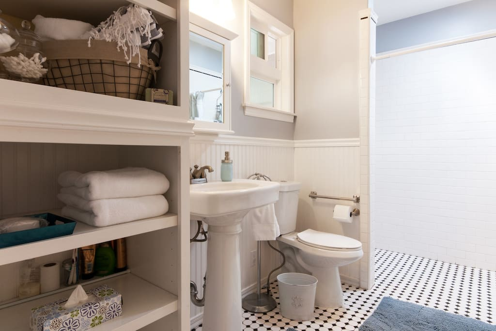 Remodeled bathroom with a vintage flair.