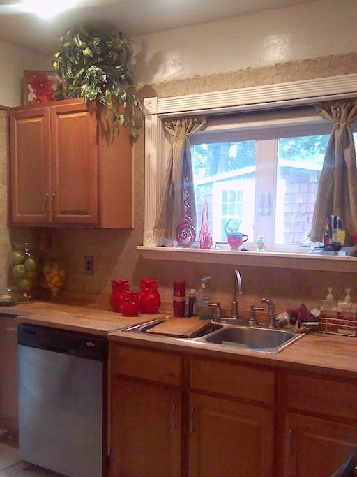 The kitchens are fully equipped with appliances and pots, pans and dishes, and a grocery store is a 5 minute drive.
