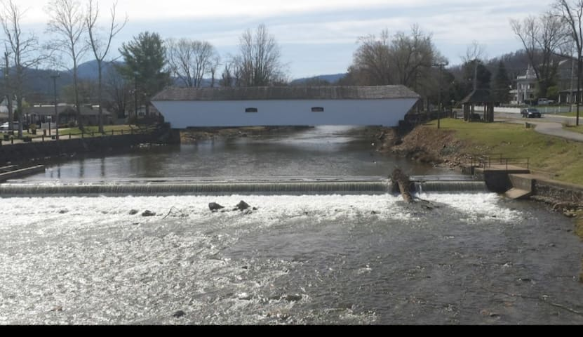 Our historic covered bridge,  directly across the street.