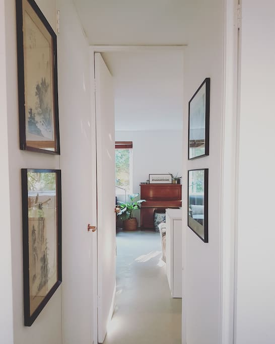 From front door down the hall to open plan living, kitchen & dining