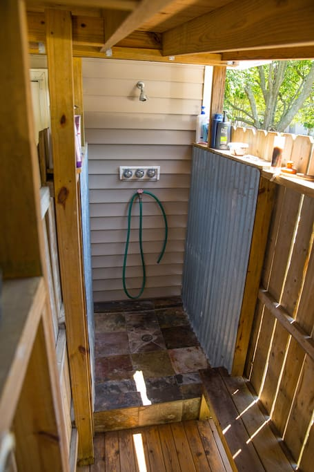 The best part of our home, the outdoor shower! You will fall in love and wonder how you ever showered inside