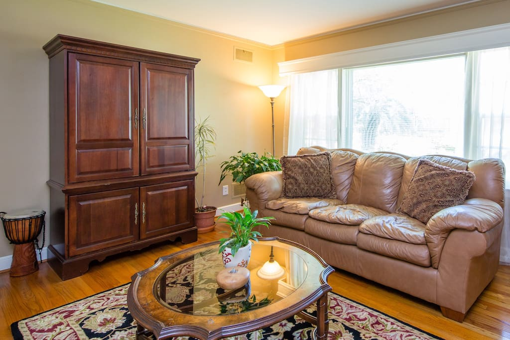 Enjoy the privacy of your own room or feel free to stretch out in our comfortable living room.