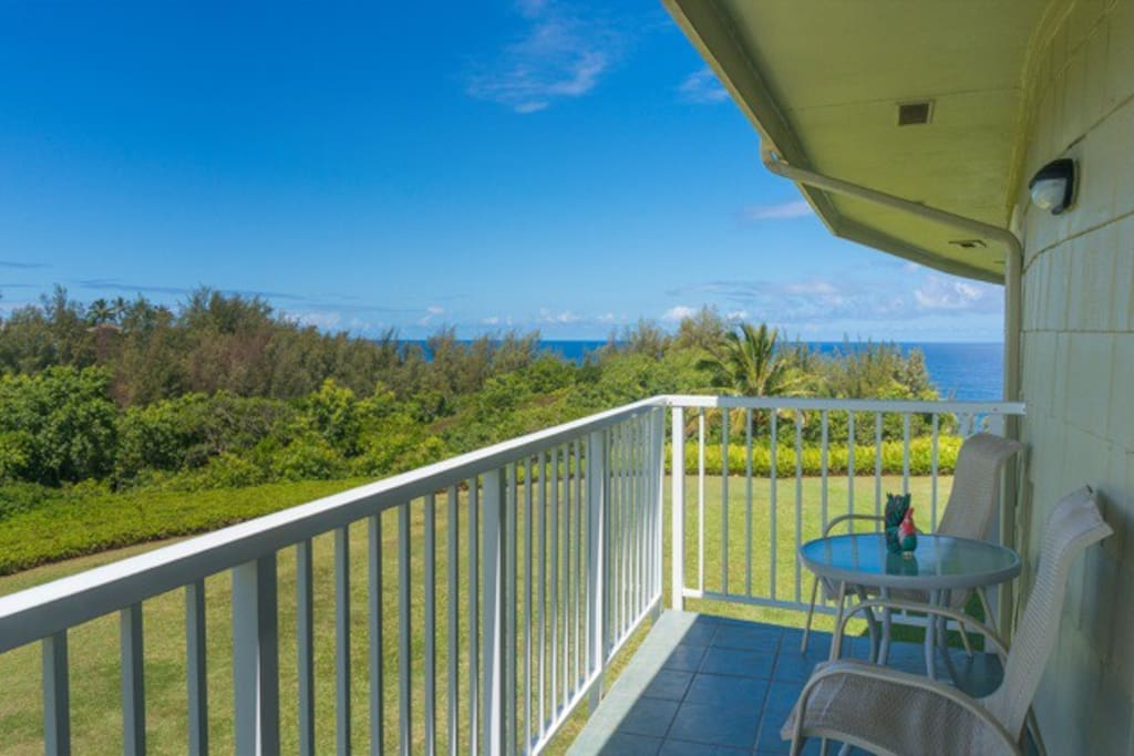 Enjoy whale watching and beautiful sunsets from the lanai.