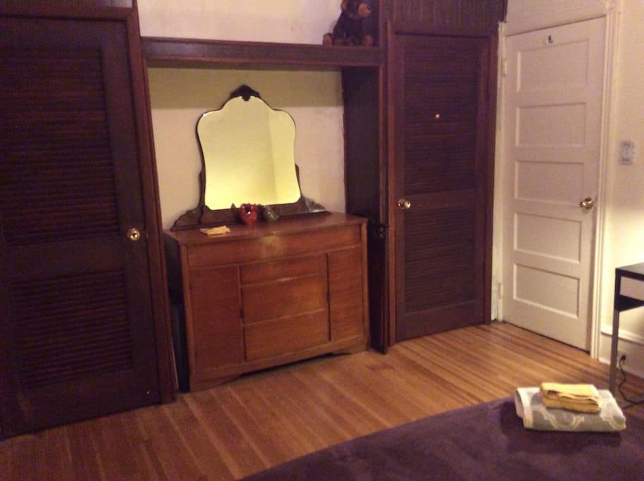 Closets,dresser, and mirror