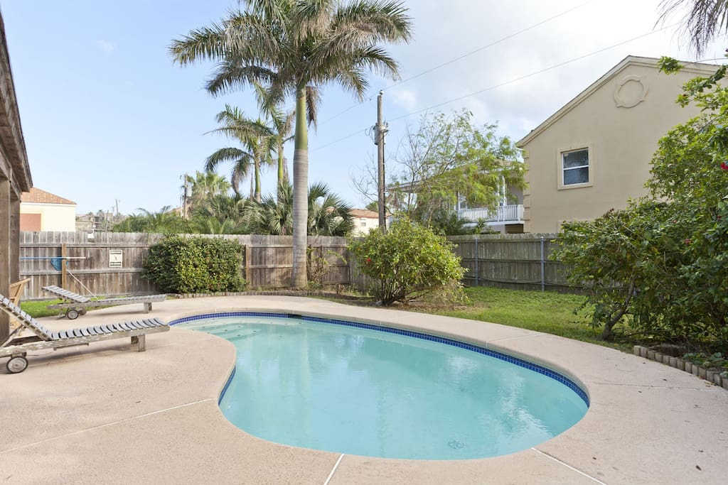 Private heated pool and fenced in yard