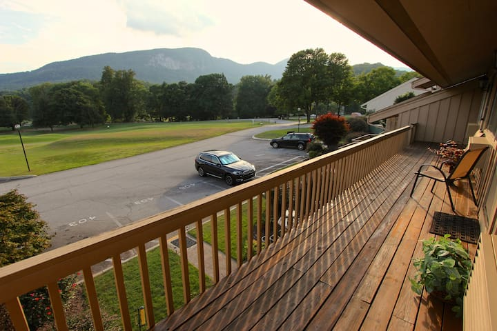 Enjoy your morning coffee overlooking right into Bald Mountain.