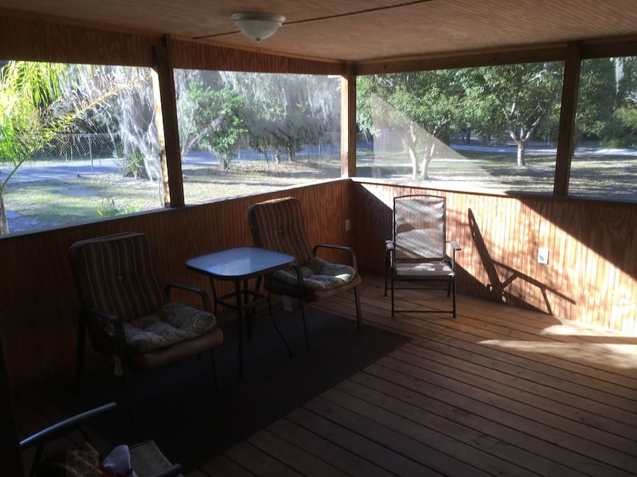 Have coffee or tea in the screened in front porch!