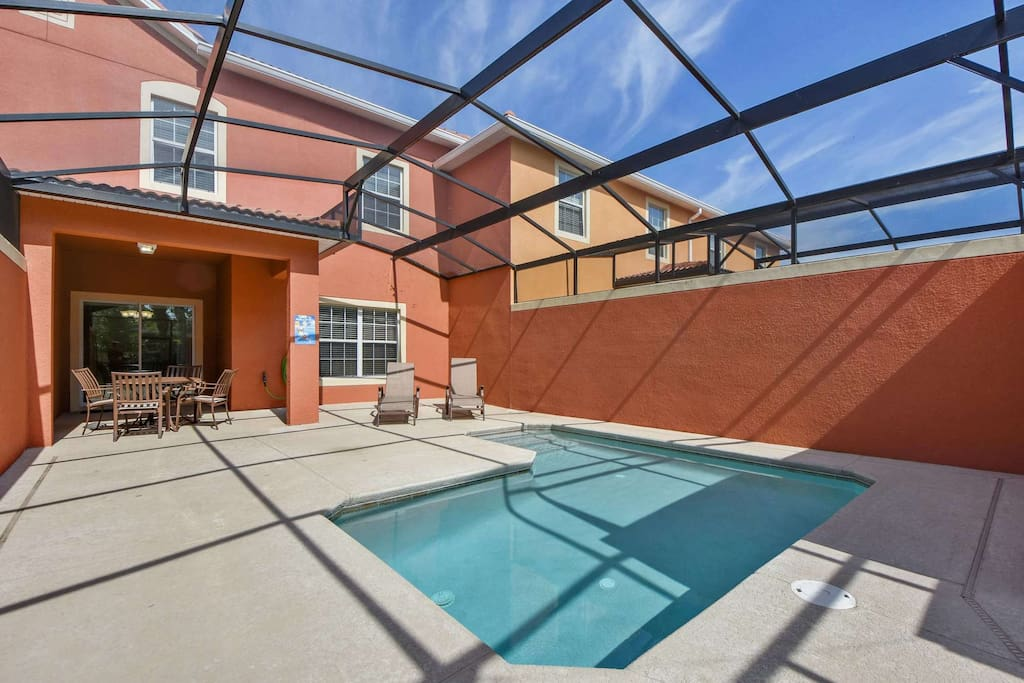 Enjoy the Florida sunshine in your private, enclosed pool area! Relax on the deck loungers reading a book or sun bathing in this private paradise.