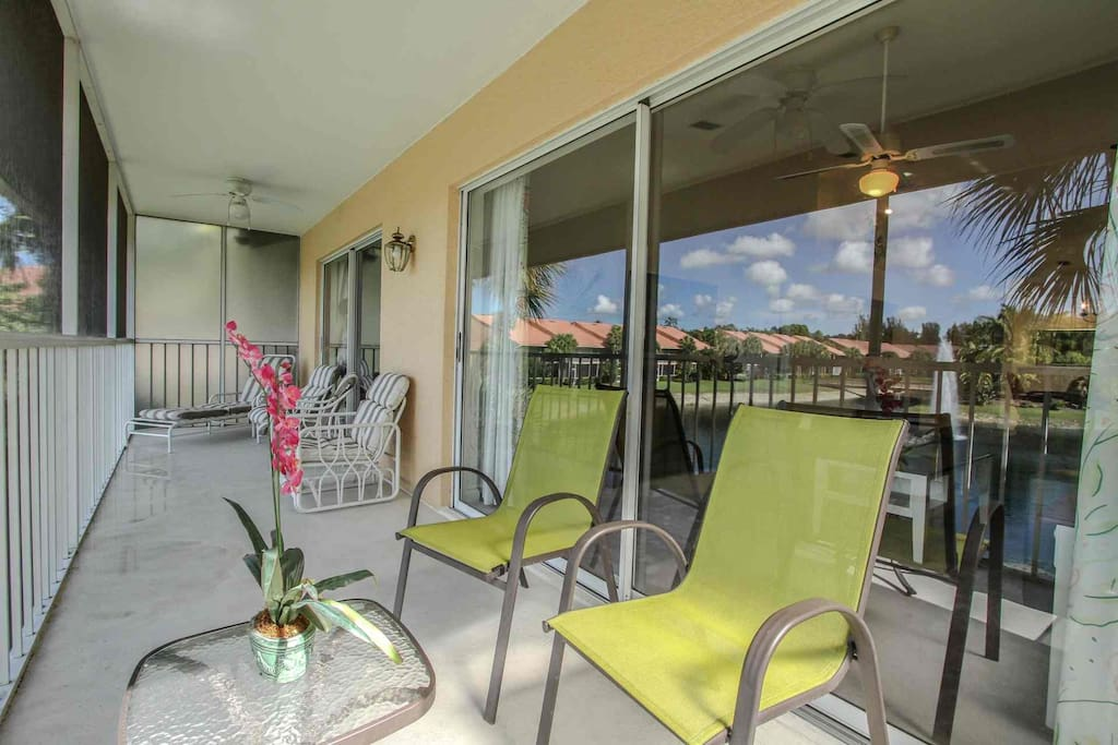 Plenty of comfortable seating options on this oversized lanai w/dual access from LR & Master suite.