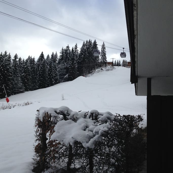 View of the Red run from the apartment. The run goes down into St Gervais.