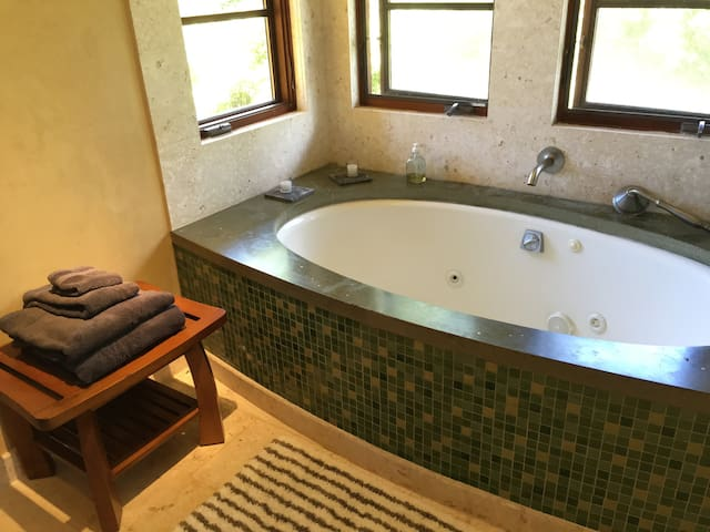 Two-person soaking tub with comb shower and coral tile trim.