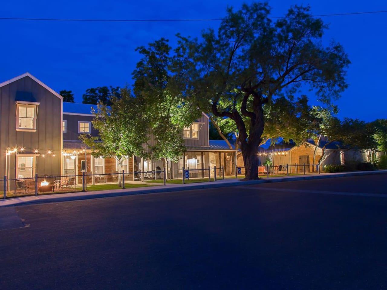 All three farmhouses at night
