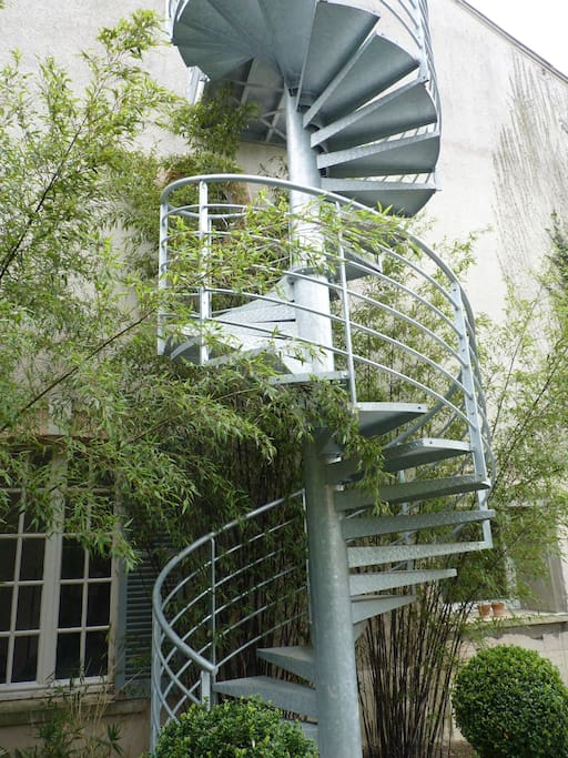 Very original stair to LE LOFT in the middle of bamboos