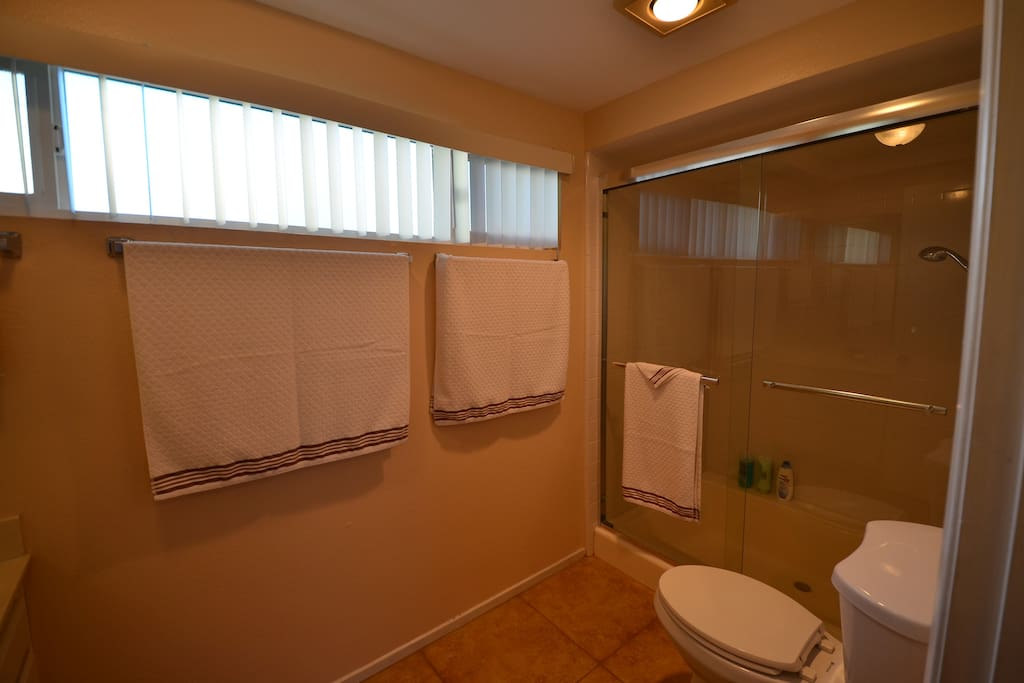 full bathroom and 1/2 bath. 4 separate sinks for dressing.