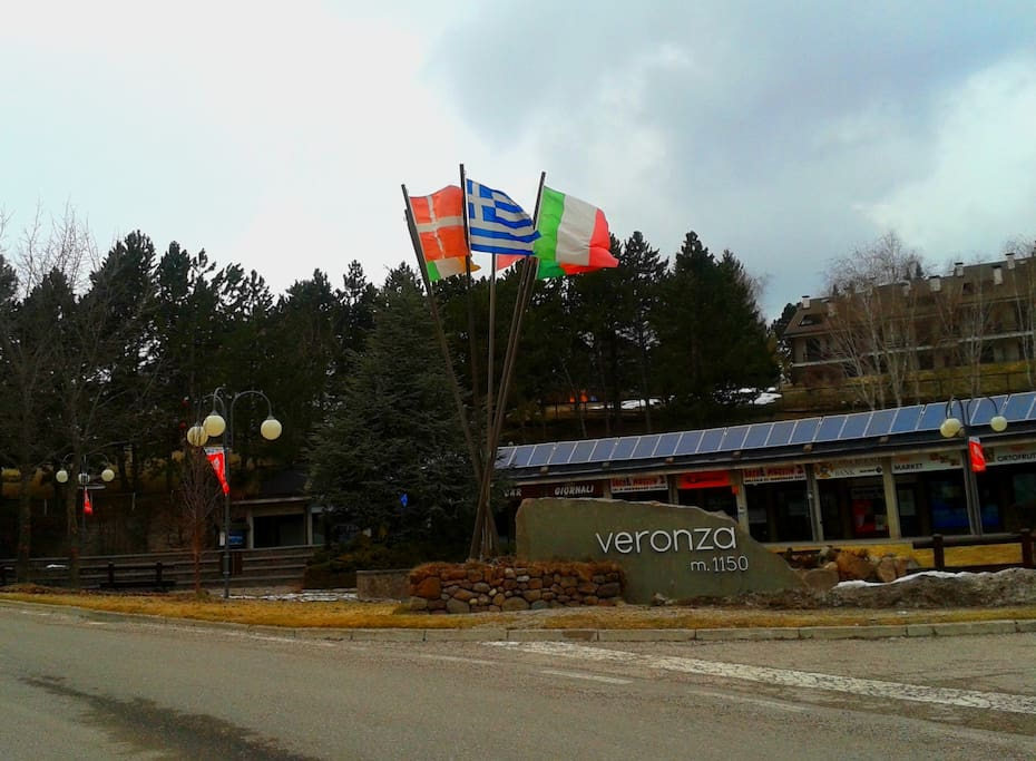 the mani square of veronza village with some store and where the ski bus leave everyday to the sport location and the centre villa