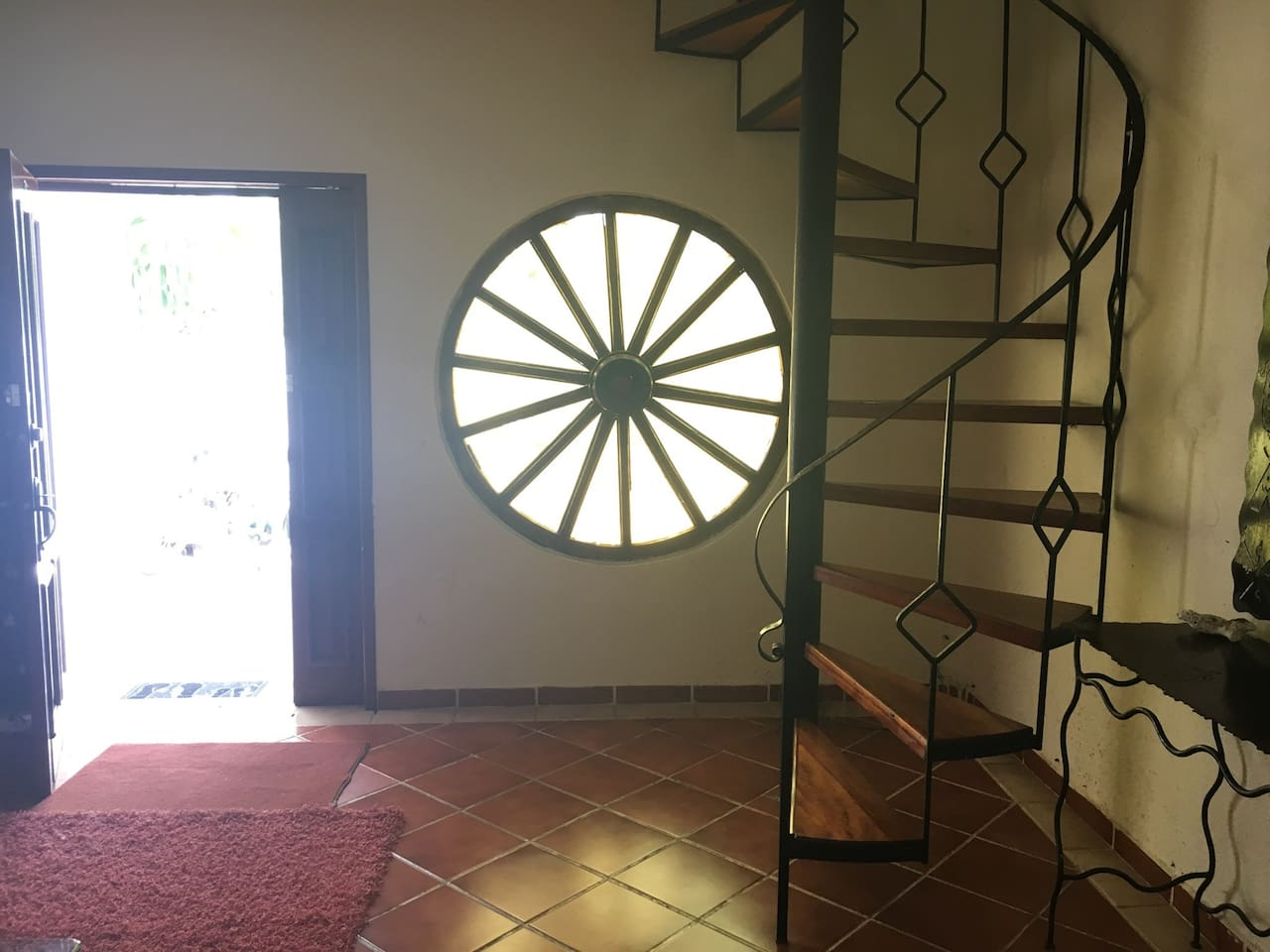 Beautiful spiral staircase in the living room