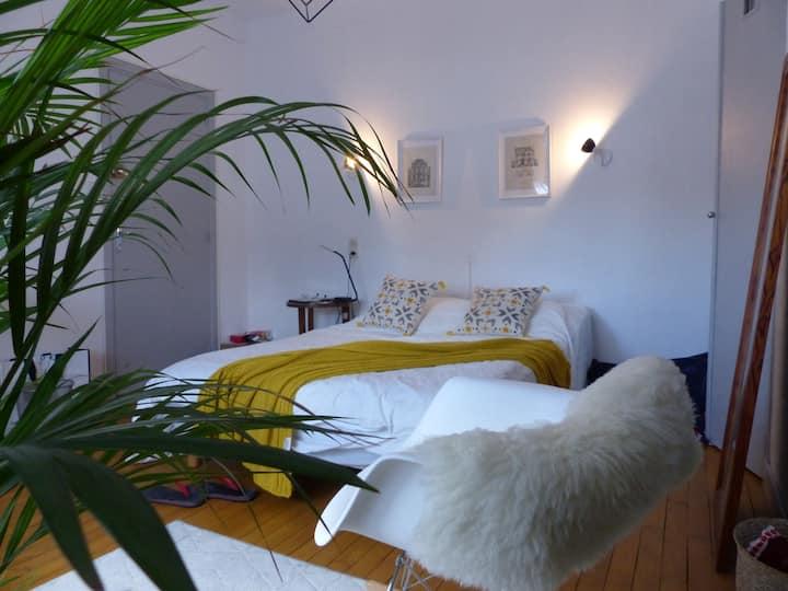 chambre spacieuse dans maison de charme/jardin