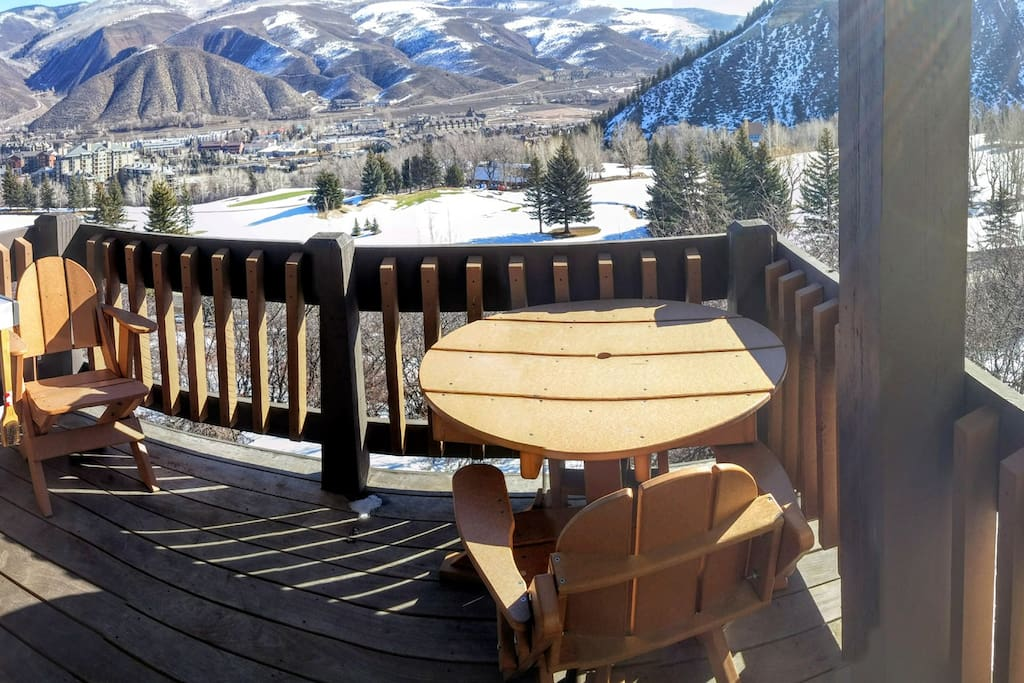 Large Expanded Deck (8'x8') with Gas BBQ connected to the home with views over Beaver Creek golf Course and Avon