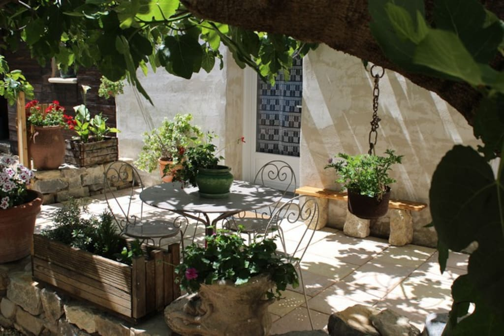 La terrasse privée à l'ombre du figuier centenaire.