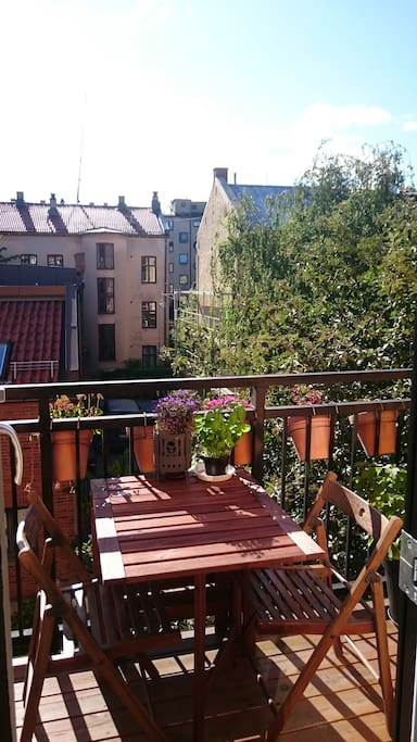 Sunny balcony for relaxing with a cool breeze and lovely herbs and flowers.