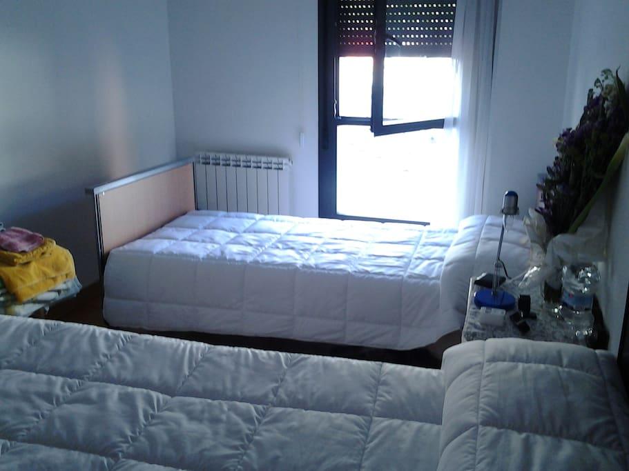 habitación privada, con ventana, persiana y cortina 2 camas, una individual y otra doble armario dentro, se habilita una parte radiador y baño privado para uso exclusivo del huésped