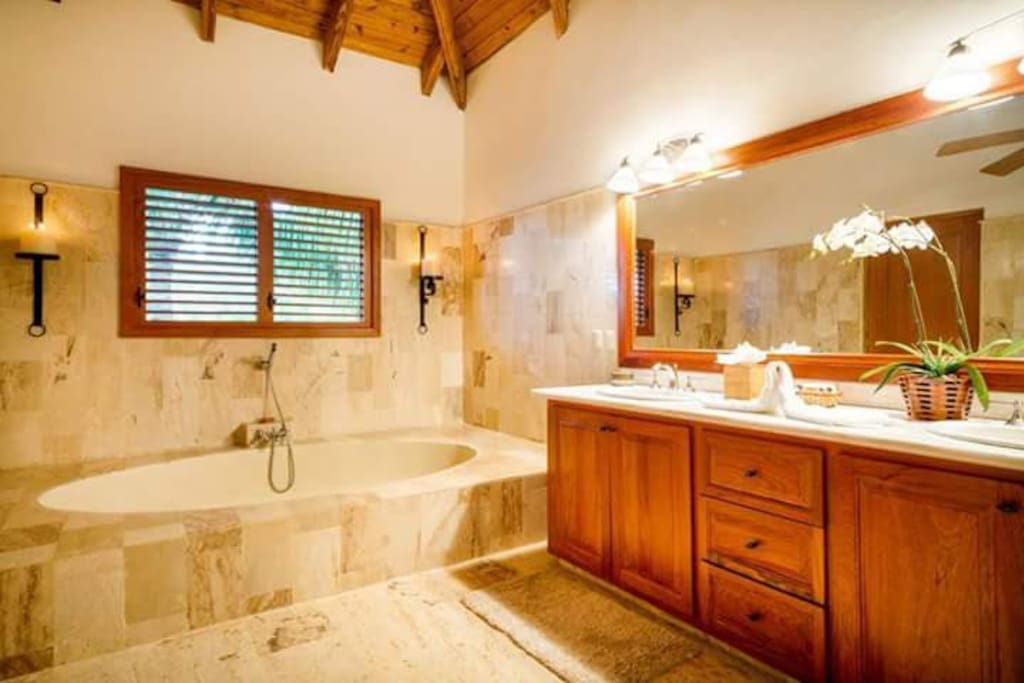 Master Bathroom tub, also has a shower