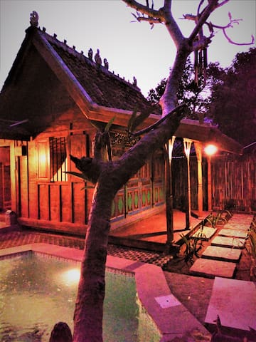 lovely antique teak wood java home for your lovely holiday in seminyak town Bali