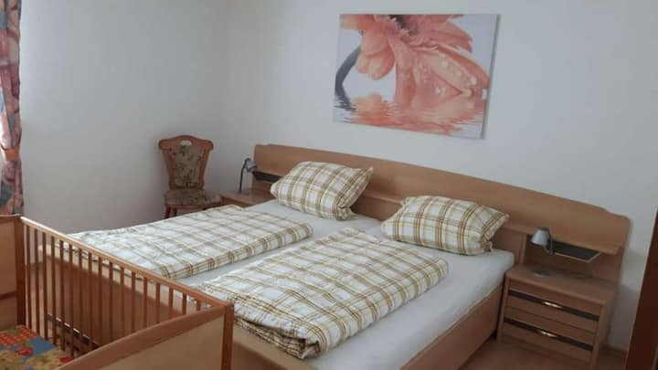 """Idyllically Situated Holiday Apartment """"Hermannshöhe FeWo 3"""" on the Farm with Balcony, Shared Garden, Playground, Terrace, Barbecue, Wi-Fi & TV; Parking Spaces Available"""