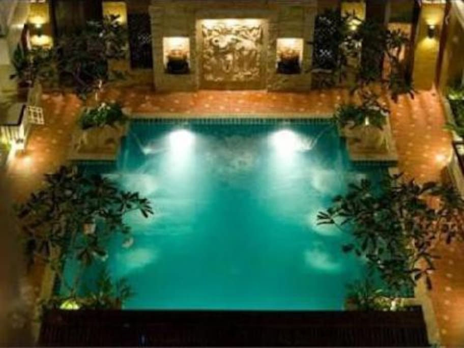 This pool is in front of your bedroom