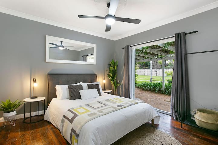 Bedroom 2 - Queen, opening onto the Pergola area