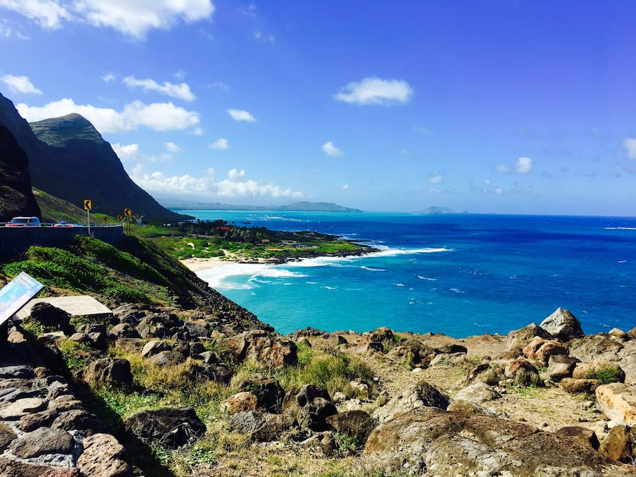 A beautiful view from the Makapu'u Lookout about 3 miles from the house