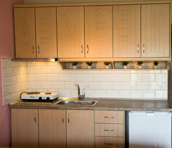 The room has a fully equipped kitchen.