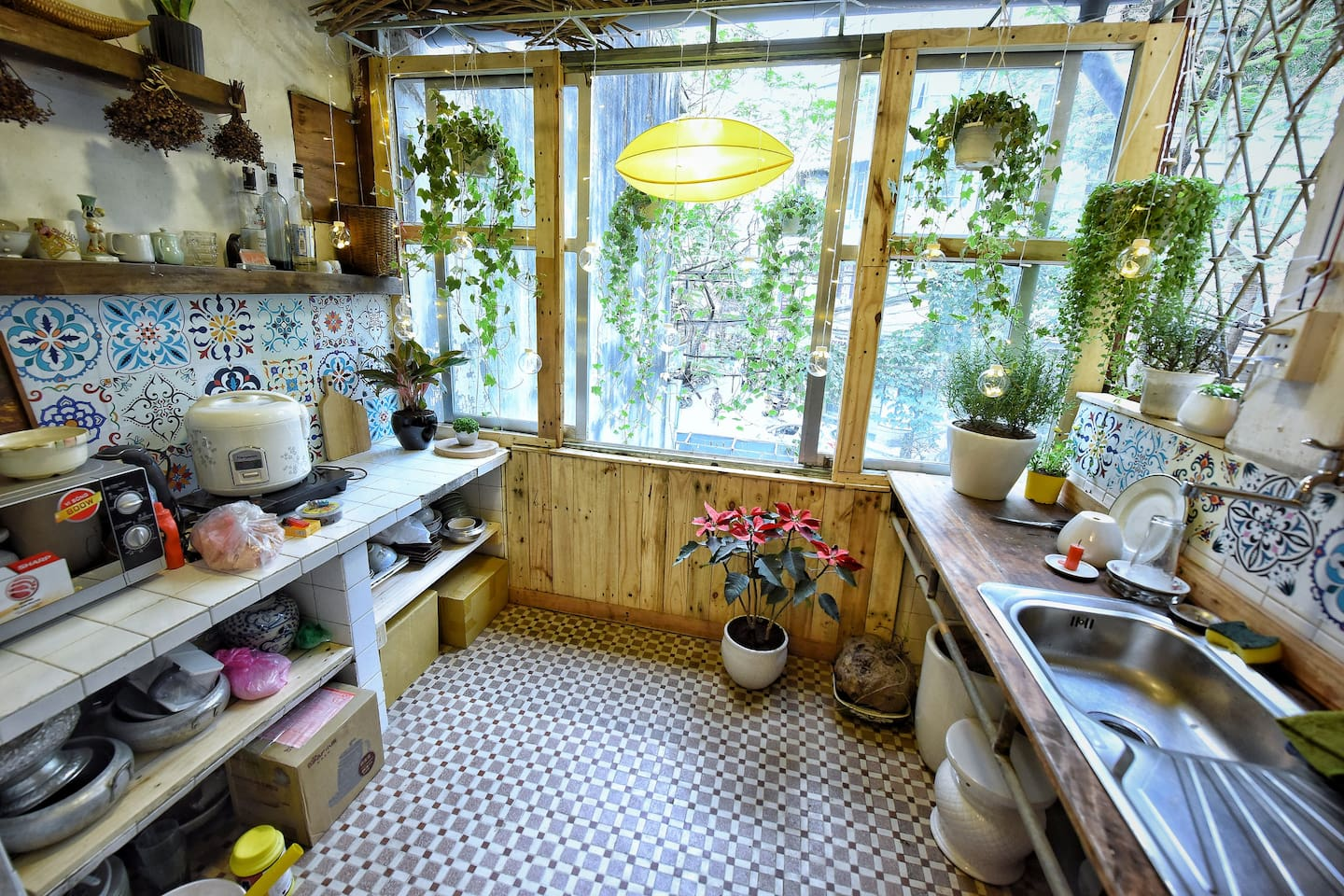Your cosy kitchen looking out to the Old Quarter. A quite peaceful retreat to stay cool in the hot weather of Hanoi.
