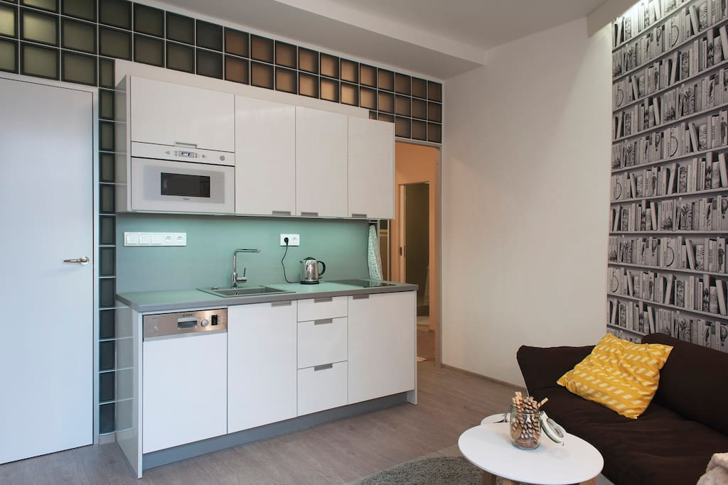 Kitchen and the living room. There is a folding sofa where one person can sleep very comfortably.