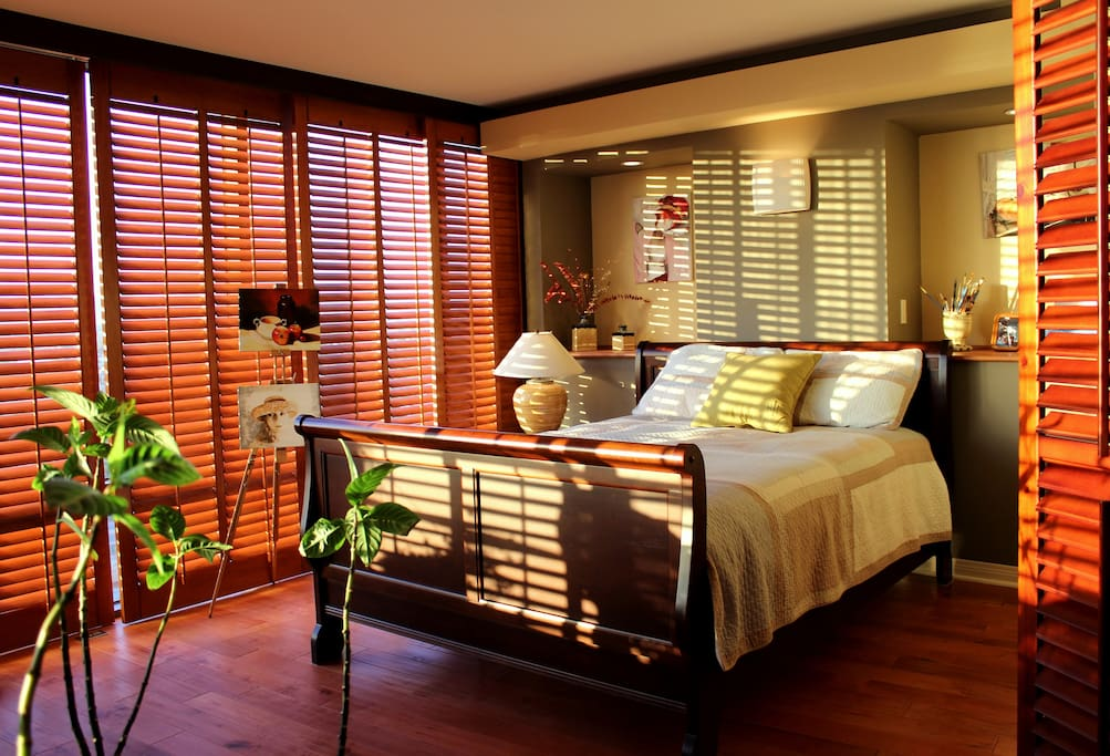 Soft Califonia Sun through Honey-colored Wood Plantation Shutters