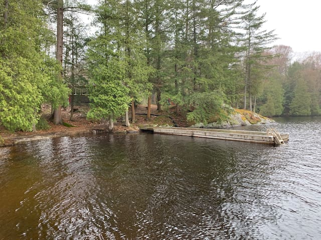 View of dock, nice and deep to dive off and has a ladder