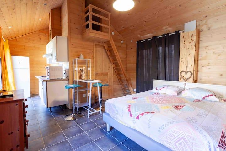 Studio cosy bois / lit 180 ou 2x90 jardins équipés
