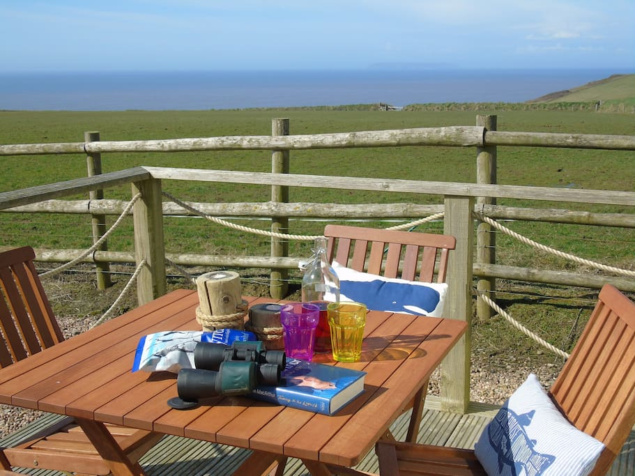 View from the decking across the Atlantic to Lundy Island