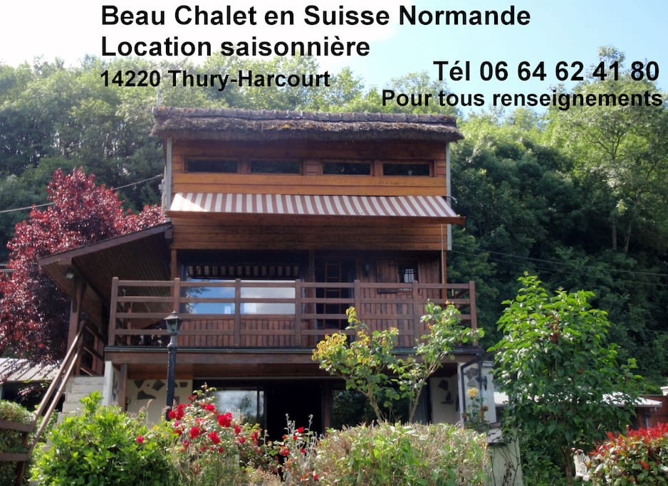 Beau chalet en suisse normande chalets louer thury for Piscine thury harcourt