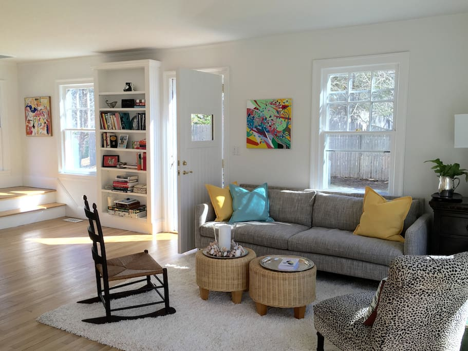 Sunny, sophisticated living room.