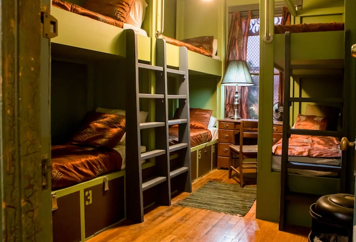 Male-Only Single Bunk Bed in Historic Firehouse