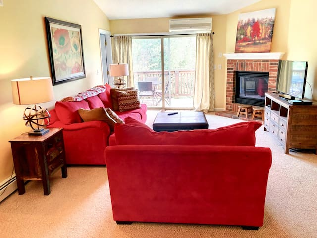 SC46:  Convenient location, warm and bright home for your skiing getaway! Bretton Woods Resort condo with free shuttle to skiing and resort, modern open floor plan, fireplace! Close to Mt Washington Hotel. DISCOUNTED SKI TICKETS!