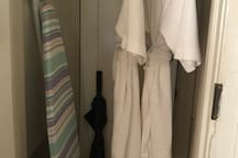 Full size ironing board, bath robes and umbrella. Our 25 years of experience in hosting.