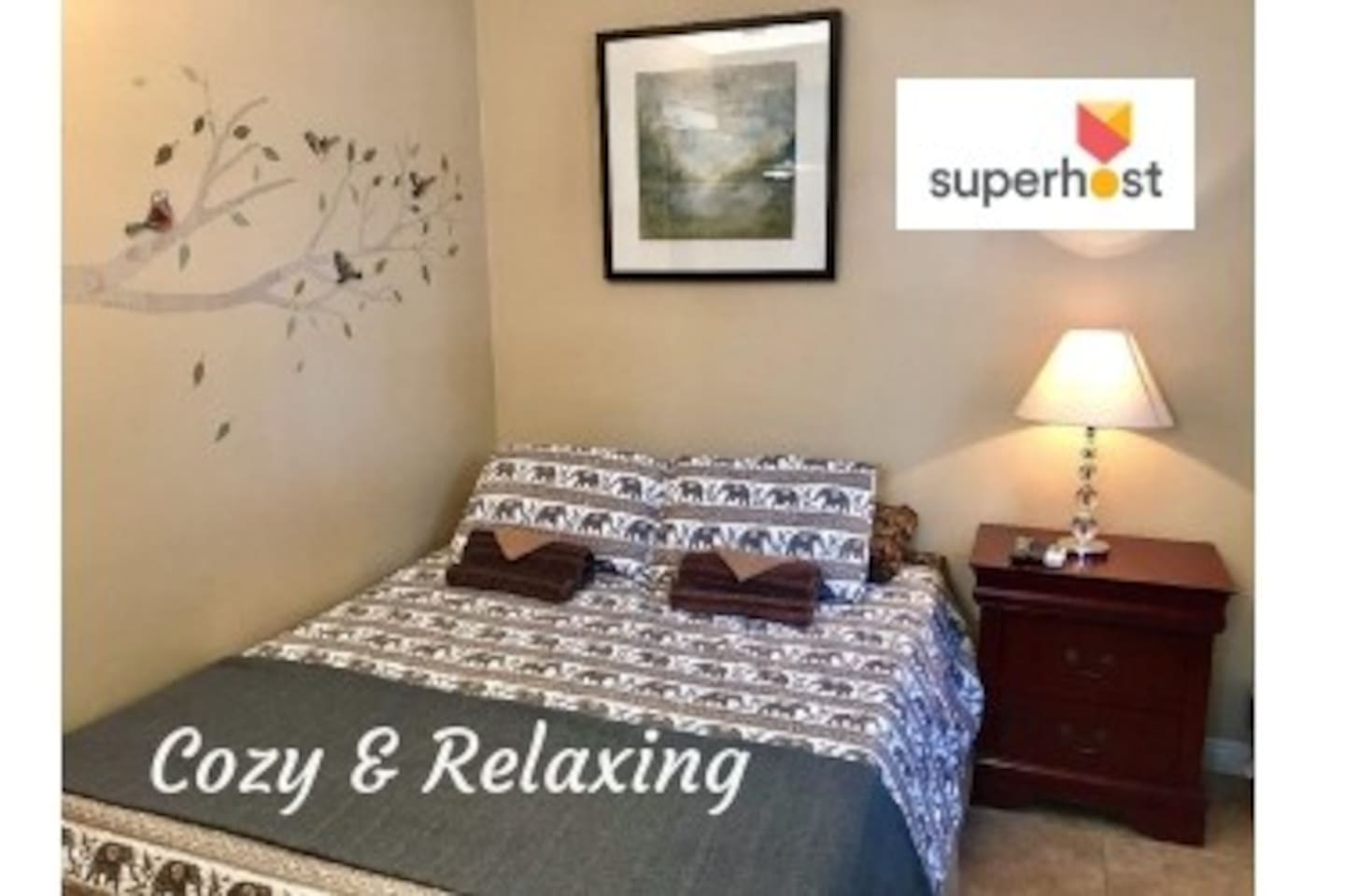 Welcome to your cozy and relaxing Queen size bed with foam mattress topper for extra comfort.