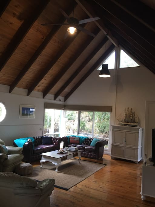 Living room with cathedral ceiling