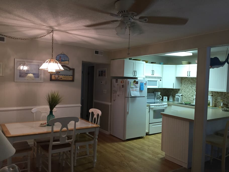 Fully equipped kitchen with oven/stove microwave dishwasher.
